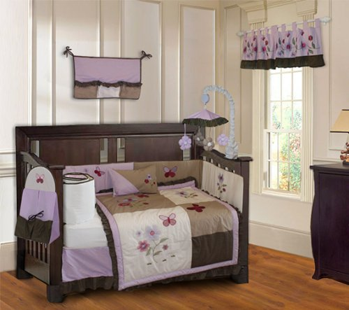 Purple Blossom 10 Piece Baby Crib Bedding Set (Including Musical Mobile)