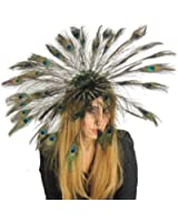Gorgeous Large Peacock Eyes Feathers Fan Daylily Ascot/Derby Fascinator Hat - With Headband