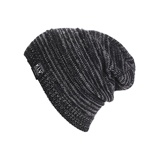 Berretti in Maglia Unisex, Ularma Uomo Donna Unisex Knit rigonfio Beanie inverno Cappello del Pattino Slouchy (NERO)