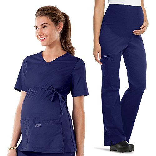 Core Stretch by Cherokee Workwear Women's Maternity Scrub Top & Scrub Pant Set Small Navy