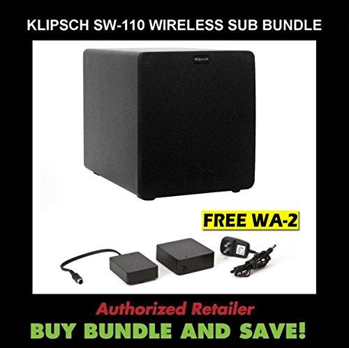 Klipsch Sw-110 Black 10-Inch 200 Watt Reference Ii Powered Subwoofer, Plus Klipsch Wa-2 Wireless Subwoofer Kit