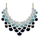 Jane Stone 2017 Fashion Bib Collar Necklace Multicolor Enamel Gold Statement Jewelry for Women(Fn0968-Ombre Niagara)