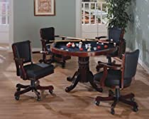 Hot Sale Three-in-One Cherry Finished Wood Pool Poker Game Dining Table Chairs set