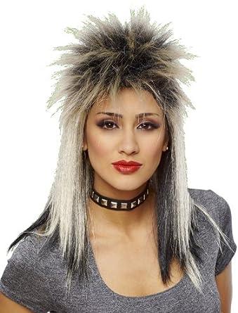 Retro Punk Rock Star 80s Spiky Mullet Blonde Black Wig
