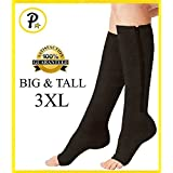 NEW (BIG & TALL 3XL) Open Toe Knee Length Zipper Up Compression Hosiery Calf Leg Support Stocking Stocks (Black)