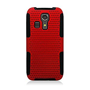 Eagle Cell Hybrid TPU Mesh Net Protective Case Cover for Kyocera Hydro Icon C6730 - Retail Packaging - Black/Red