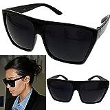 BLACK Oversized Large XL Big Sunglasses Kim Square Flat Aviator Wayfarer
