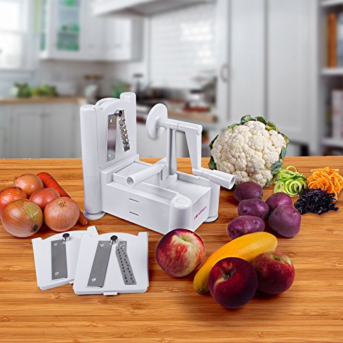 Spiral Cutter , PomStream™ Ultimate Tri-Blade Vegetable and Fruit Peeler Spiral Cutter – Includes Three interchangeable blades for different vegetable designs – Create Healthy Gourmet Meals with Zero Risk.