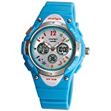 New Arrival PAS Kids Teenage Girls Dual Time Colorful Dial Waterproof 100m Sports Casual Wrist Watches with Bling Bling Moon Star Pattern Cyan