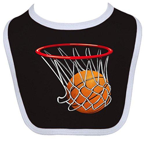Inktastic Baby Boysâ€Tm Basketball Swish Baby Bib One Size Black/White front-647448