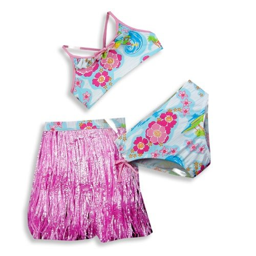 Circo - Toddler Girls 3 Piece Floral Swimset, Bikini And Hula Skirt, Pink, Blue (Size 2T)