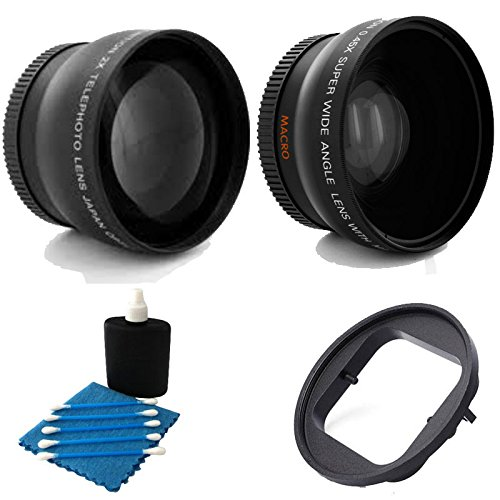 52Mm 2X Professional Telephoto Lens With High Definition 52Mm Wide Angle Lens + Adapter 52Mm For Gopro Hero 3+ 3-2-1 Black Silver White Camcorder