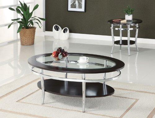 Image of Benedicta End Table in Cappuccino Finish (B003XRBVQO)