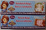 Disney Sophia the First Sandwich Bags (20 Ct)& Snack Bags (25 Ct)