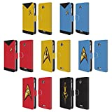 Official Star Trek Uniforms And Badges TOS Leather Book Wallet Case Cover For HTC Desire 510