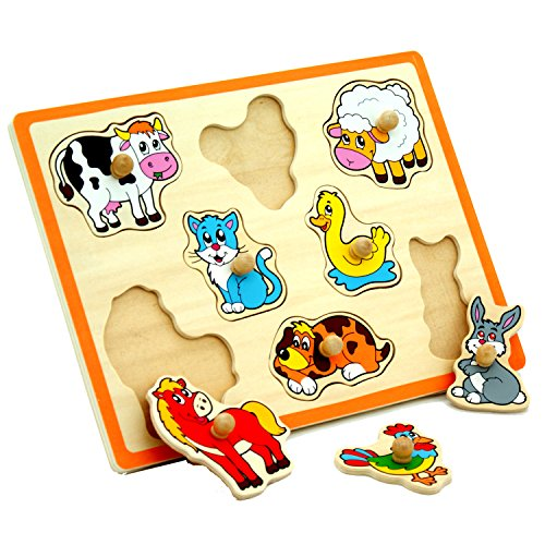 Viga Farm Animals Wooden Pull-Out Peg Puzzle