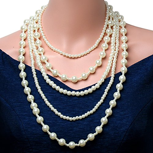 Babeyond-ART-DECO-Multilayer-Strand-Chain-White-Faux-Pearls-Flapper-Beads-Cluster-Long-Choker-Necklace