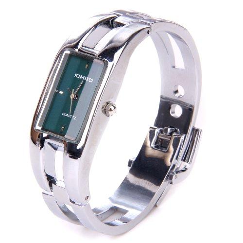 Silver Quartz Women Bangle Bracelet Wrist Watch