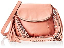 Cynthia Vincent Fringe Detail Cross Body Bag, Coral, One Size