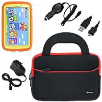 BIRUGEAR Ultra-Portable Universal Neoprene Carrying Sleeve with Charger, Screen Protector for Samsung Galaxy Tab 3 Kids (SM-T2105) - 7.0'' Child-Friendly Tablet (Black Case) by BIRUGEAR