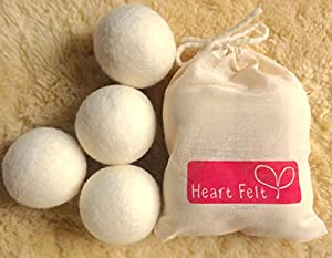 Wool Dryer Balls by Heart Felt Four Wool Laundry Balls- With Free Gift Bag- The Best Rated Dryer Ball Brand on Amazon and the Only New Zealand Supplier! 100% Pure Organic Wool to the Core ~ Perfect for Cloth Diapers ~ Perfect Gift Idea!