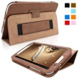Snugg Galaxy Note 8 Leather Case in Distressed Brown - Flip Stand Cover with Elastic Strap and Premium Nubuck Fibre Interior for Samsung Galaxy Note 8