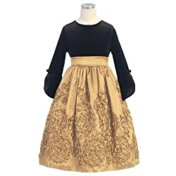 Sweet Kids Gold Taffeta Velvet Flutter Sleeve Christmas Dress Girl 3T