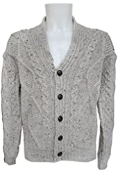 100% Merino Wool Aran Cardigan with Leather Buttons, Oatmeal colour