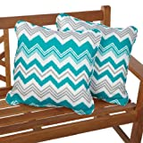 Mozaic Sabrina Corded Indoor/Outdoor Square Pillows, 18-Inch, Tropic Zazzle, Set of 2