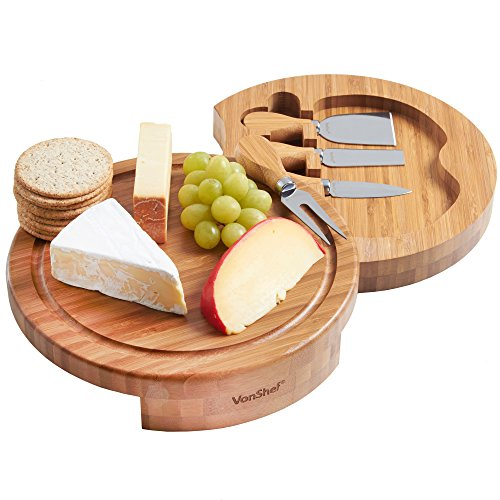 VonShef Round Slide Out Bamboo Cheese Board and 4 Piece Knife Set (Cheese Board Tray compare prices)