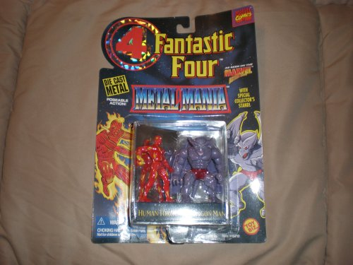 Fantastic Four Metal Mania Human Torch Vs. Dragon Man Die Cast Metal Poseable Figures