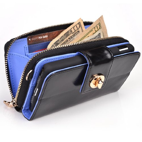 Samsung Galaxy S4 Genuine Leather Wallet Case With Built-In Stand And Credit Card Holder - Pearl Black