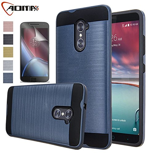 ZTE Imperial Max Case, ZTE Grand X Max 2 Case, Aomax Hard Silicone Rubber Hybrid Armor Shockproof Protective Cover With HD Screen Protector For ZTE Kirk Z988 / Zmax Pro / Duo Z963U VLS Metal Slate New (Zte Imperial Charging Case compare prices)