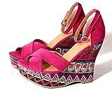 (Clack) レディース 靴 / エスニック柄 派手 リゾート スタイル 10.5cm ヒール ウエッジ サンダル ピンク S M L LL FREE