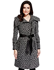Per Una Jacquard Leopard Print Belted Coat with Wool