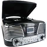PLATINE TOURNE DISQUES 3 VITESSES-SD-LECTEUR CD-RADIO-ENCODEUR-USB 2.0-MP3 NOIR METALLISE