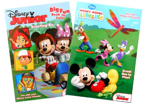 "Disney Junior Mickey Mouse 2 Pack Coloring Book Set ""Scooting By"" And ""Great Day To Play!"" front-86615"