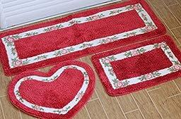 Sytian® 3pcs Floral Rural Style Rose Flower Shaggy Area Rug Set Non-slip Bath Mat Bathroom Shower Rug / Bedroom Living Room Carpet (Red)