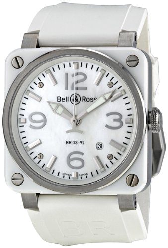 Bell and Ross Aviation Mother of Pearl White Rubber Automatic Mens Watch BR0392-WHT-CERUB