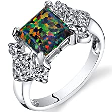 buy Created Black Opal Majeste Ring Sterling Silver Princess Cut 1.00 Carats Size 8
