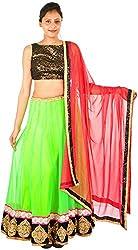 International Craft Women's Net Lehenga Choli (IC004, Green, S)
