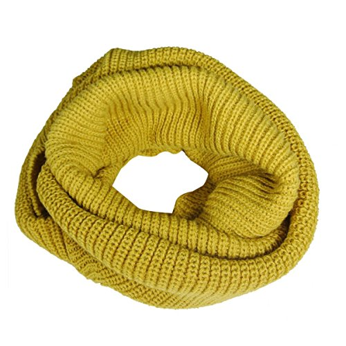 Allydrew Thick Knitted Winter Warm Infinity Scarf, Mustard