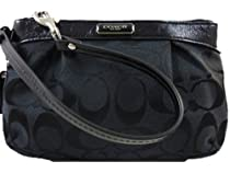 Hot Sale Coach 47206 Black Pleated Signature Wristlet Nwt