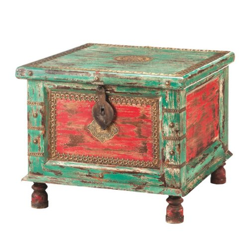 """24"""" Andhra Distressed Red And Blue Wooden Storage Trunk With Pedestal Feet front-919054"""