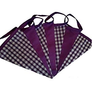Purple Gingham & Purple Taffeta Fabric Bunting 20ft