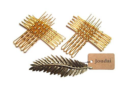 (ジョーダイ) Joudai アンティーク ゴールド シルバー のリーフバレッタ と スクリュータイプ アメリカピン20本 の セット ヘアアクセサリー ヘアクリップ アメピン フェザーバレッタ 髪飾り 髪留め SA-176