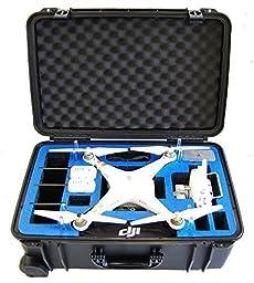 Microraptor Pro Cases NEW Phantom 3 Case designed to fit the Advanced & Professional Editions DJI PHANTOM 3 (Black Case, Blue Foam)