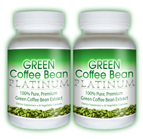 Green Coffee Bean Platinum - Pure Green Coffee Bean Extract 800mg. Weight Loss Fat Burner Diet Pill (2 Bottles)