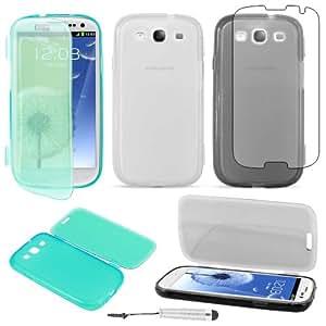 ebestStar ® - Kit d'accessoires pour Samsung Galaxy S3 i9300 i9305 / S III GT-i9300 - Lot x3 Coque Housse Etui Portefeuille en Silicone Gel de couleurs Transparente, Noir et Bleu + 3 films protection d'écran + 1 Mini Stylet tactile