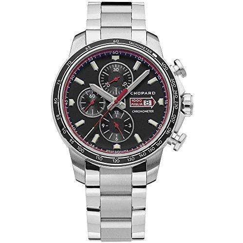 Chopard Men's Steel Bracelet & Case Sapphire Crystal Automatic Black Dial Chronograph Watch 158571-3001